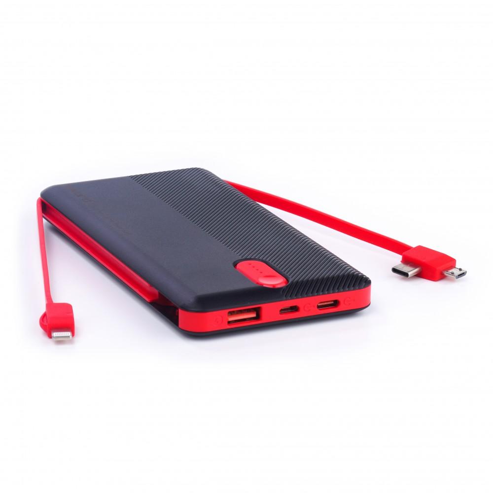 SWORD 10000 mah Kendinden Kablolu Powerbank Black&Red