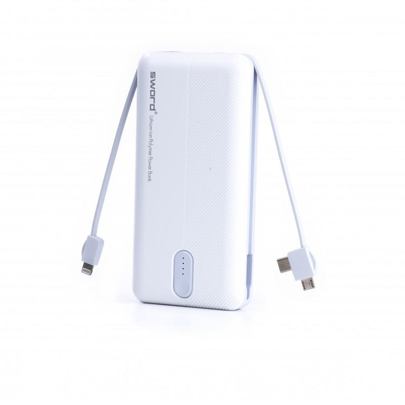 SWORD 10000 mah Kendinden Kablolu Powerbank (micro/type-c/iphone) White & Gray