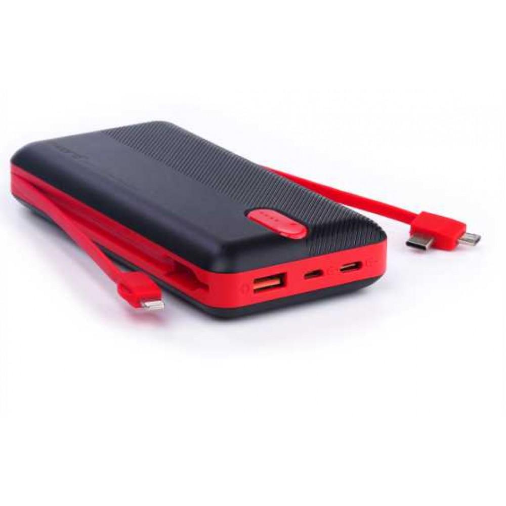 SWORD 20000 mah Kendinden Kablolu Trıple Powerbank Siyah&Kırmızı